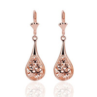 Rose Gold Plated Pipa Shape Flower Openwork Drop Earrings (Color: Rose gold) = 1845638660
