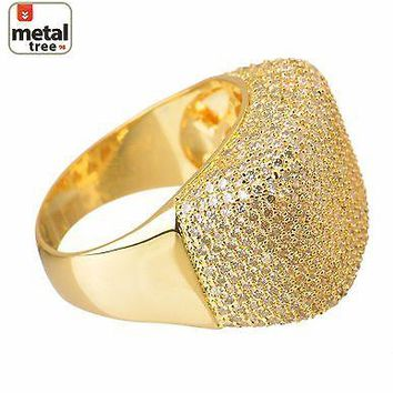 Jewelry Kay style Men's Hip Hop 14k Gold Plated Brass Hand Setting CZ Band  Band Pinky Rings