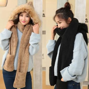 Cute women winter warm soft plush faux fur hooded cap scarf gloves Girls thick cashmere hats scarves and gloves sets