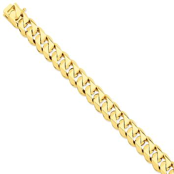 14k 14mm Hand-Polished Traditional Link Bracelet Chain LK121