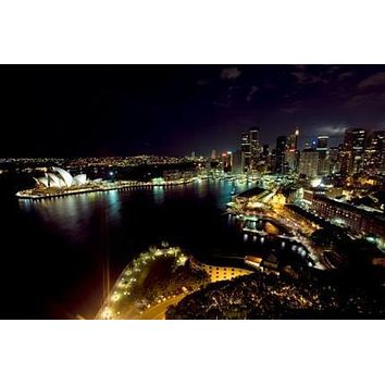 Sydney Skyline poster Metal Sign Wall Art 8in x 12in