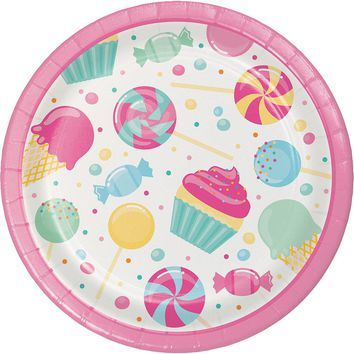 Candy Bouquet Dessert Plates, Candyland Party Paper Plates, Candy Buffet Dinnerware, Luncheon Plates