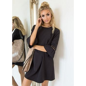 Black Speaker Sleeve Lace Stitching Dress