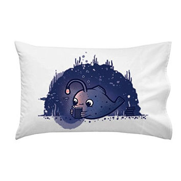 'Reading Light' Funny Deep Sea Angler Fish w/ Light Lure - Pillow Case Single Pillowcase