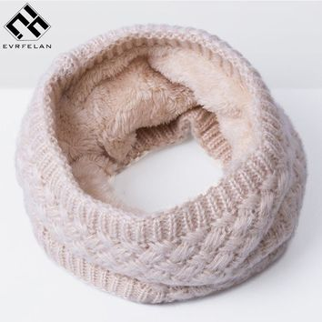 Winter Scarf For Women Men Children Thickened Wool Collar Scarves For Girls Neck Scarf Cotton Unisex Knitted Ring Scarf