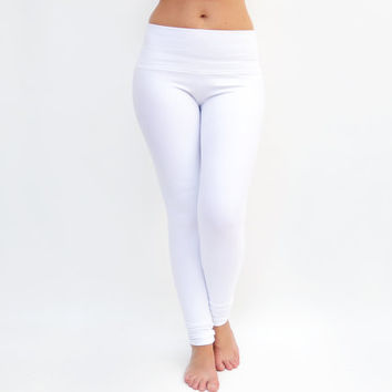 White Leggings, White Yoga Pants, Workout Tights, Yoga Clothes, High Waisted Legging, White Dance Pants, Extra Long Leggings