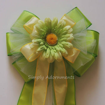 Yellow green Wedding Pew Bow Lemonade Wedding Aisle Decor Yellow lime silver bling Bow Ceremony Chair Bow Birthday Party Decoration