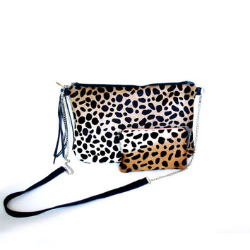 Cheetah Calf Hair Leather Clutch // Cross Body Bag // Party Clutch // Gift Set // Coin Purse // Animal Print