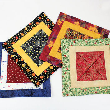 Gift set - Quilted Candle Mats - Choose 4 Medium Mini Quilts for Different Seasons - Housewarming Gift - Shower Gift - Dorm Room - YOURSELF!