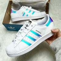 """Adidas"" Fashion Reflective Shell-toe Flats Sneakers Sport Shoes Blue laser"