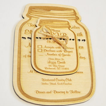 best mason jar wedding invitations etsy products on wanelo, Wedding invitations