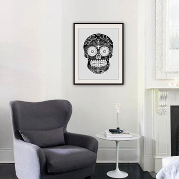 Print - Sugar Skull II - Print from an Original Watercolor