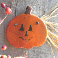 Halloween Salt Dough Decorations Jack O Lantern  Hanging Ornament