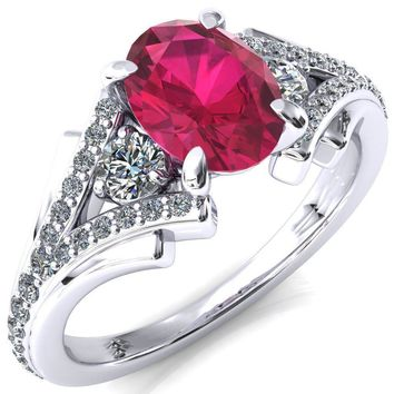 Arietis Oval Ruby 4 Prong 3/4 Bead Split Shank Diamond Accent Ring