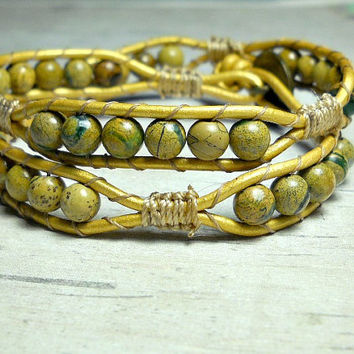 Bead Double Wrap Bracelet, Leather Wrap Bracelet, Wrap Around