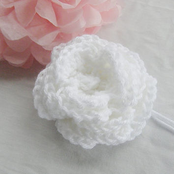 New Large White Flower Applique Brooch Hair Bow Crochet Supply