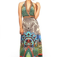 Peacock Halter Maxi Dress - Maxi Dresses at Pinkice.com