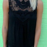 Melissa Black Crochet Sleeveless Top