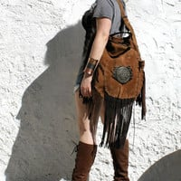 Large leather tan distressed raw edge bohemian hippie tribal tote bag hobo festival fringe Sweet Smoke southwest western moroccan native