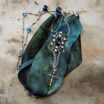 Sapphire crystal Renaissance crucifix necklace ornate cross religious jewelry pendant September birthstone