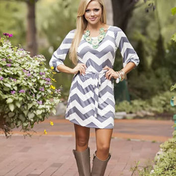 Chevron Slinky Dress Gray release giveaway