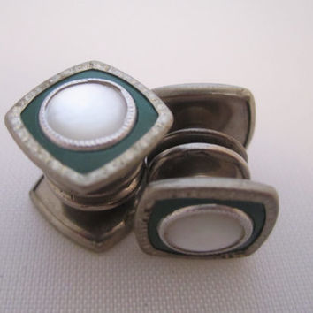 Vintage Cufflinks Snap Cuff Links Art Deco Jewelry Men's Jewelry Gifts for Him Mother of Pearl Green