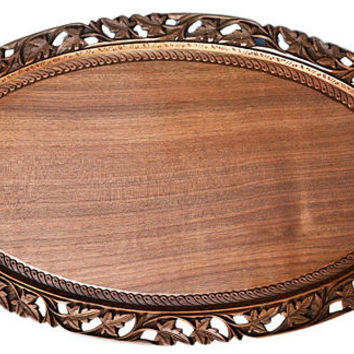 Handmade Wooden Serving Tray - Antique Serving Tray - Oval Serving Tray - Rustic Tray - Wood Tray - Housewarming - Walnut Tray- Wedding Gift