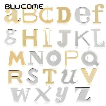 Blucome Fashion 26 Alphabets Brooches Copper Jewelry Name Letter Brooch For Women Kids Birthday Gifts Suit Coat Accessories Pins