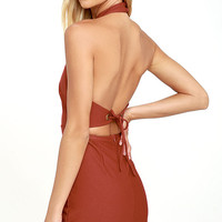 Keep 'Em Guessing Rust Red Halter Dress