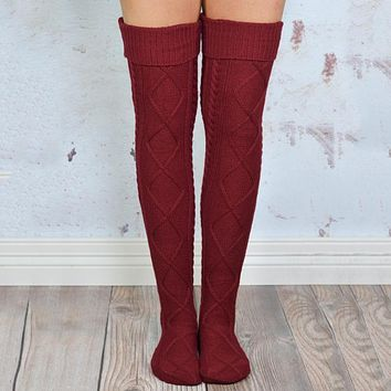 women Solid color over knee socks lace tube stockings piles pile socks