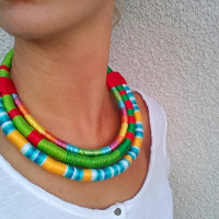 Statement necklace Bib necklace Massai necklace Rope necklace Large colorful necklace