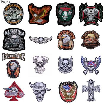 Prajna Rock Biker Patches Skull Patch Iron-on Stickers On Jacket Punk Stripes For Clothes DIY Jeans Stranger Things Embroidery