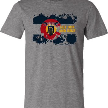 "Mountain Bike T-shirt-""Bike Colorado USA""-Get Out and Ride-Bicycle T-shirt in Deep Heather Grey"