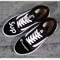"""vans+champion+supreme"" Fashion Women/man Running Sport Casual Shoes Sneakers black"