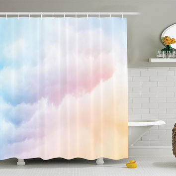 Pastel Clouds Fabric Shower Curtain