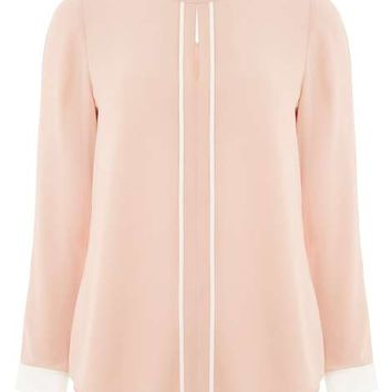 Blush Keyhole Contrast Top