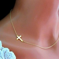 Sideways Cross Necklace Gold Off Center Jennifer Lopez Side Cros - Wedding Jewelry | Handmade