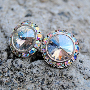 Aurora Borealis Earrings - Sugar Sparklers - Swarovski Crystal Ice Moonlight Shimmer, Northern Lights Rhinestone Stud Earrings - Mashugana
