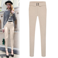 High Waisted Skinny Pants With Buttons