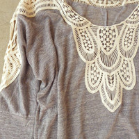 Bouton Blouse in Gray [4908] - $23.00 : Vintage Inspired Clothing & Affordable Dresses, deloom | Modern. Vintage. Crafted.