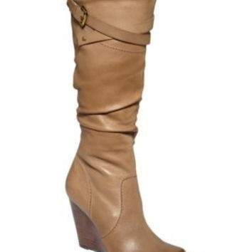 Guess Mally Leather Wedge Knee High Boots