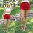 First in Lace Shorts in Red