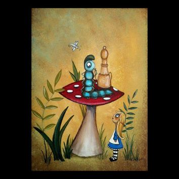 Whimsical Alice In Wonderland Art Print - Alice and the Caterpillar