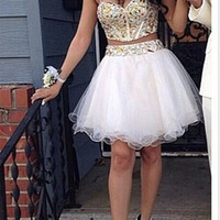 Sweetheart Neck Spaghetti Straps 2 Pieces Short Prom Dresses, Short Formal Dress, 2 Pieces Graduation Dress, Homecoming Dress