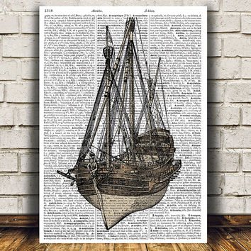 Nautical art Dictionary print Victorian print Ship poster RTA1152