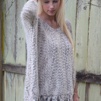 Knit Sweater With Frayed Edges