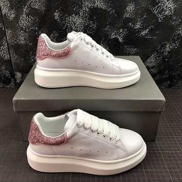 Alexander Mcqueen Oversized White Calf Leather Lace-up Sneakers With Pink Glittered Heel Patch