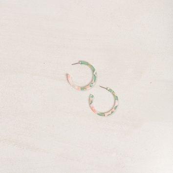 Corinne Pink and Green Hoop Earrings