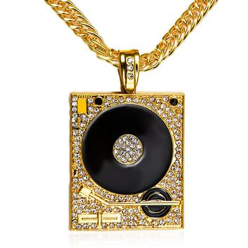 DJ Phonograph Big Pendant Necklace Men Jewelry Hiphop Chain Pendant