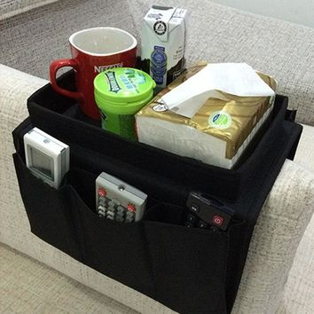 Portable Home Tool Black Sofa Arm Rest Chair Settee Couch Remote Control Table Top Holder Tray